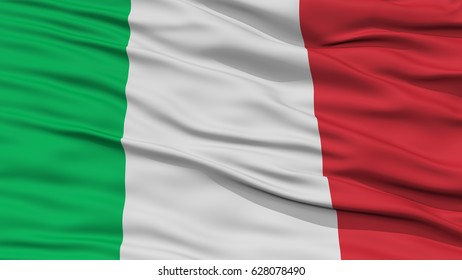 Closeup Italy Flag, Waving in the Wind, High Resolution
