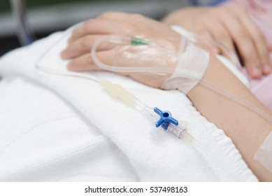 Close-up IV needle on patient  in the hospital