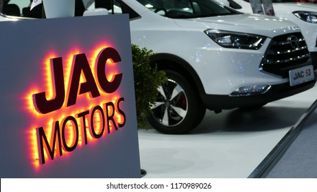 Close-up JAC motors logo in mims 2018 exposition. JAC motors is the famous automobile factory from China. SEP 03, 2018 MOSCOW, RUSSIA
