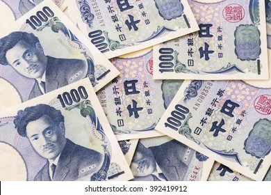 Closeup of Japanese currency yen bank notes