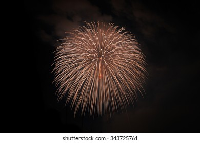 Close-up of Japanese fireworks in Summer Festival, Nagaoka city,