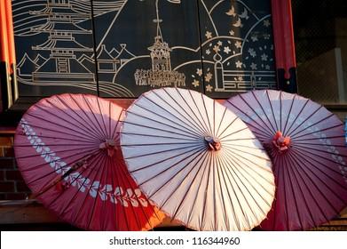 Close-up of Japanese parasols at Teapot Lane, Kiyomizu-Dera Temple, Kyoto, Japan