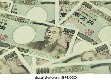 closeup of Japanese yen bank noted.