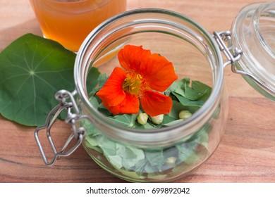 closeup of jar with nasturtium flower and leaves