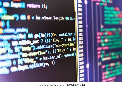 Closeup of Java Script, CSS and HTML code. Programming code abst