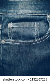Closeup of jeans pocket, Jeans texture background.