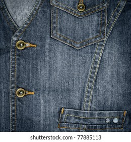 Closeup of jeans vest with pockets