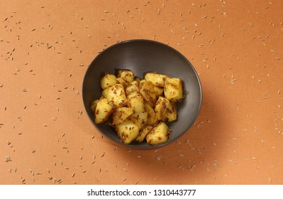 Close-up of jeera-aloo is a indian main course dish which goes well with hot puris chapatti roti or dal
