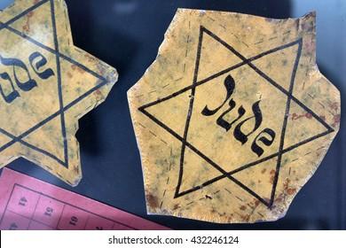 Closeup of a Jewish badge