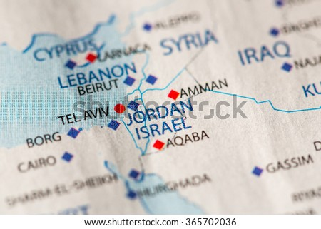 Jordan Political Map.Closeup Jordan On Political Map Middle Stock Photo Edit Now