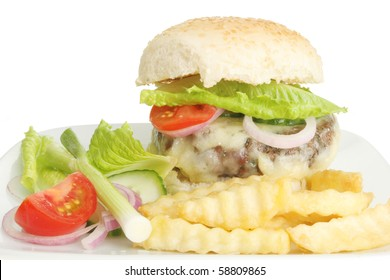 Closeup of a juicy cheese burger fries and salad
