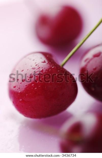 closeup of juicy fresh cherries