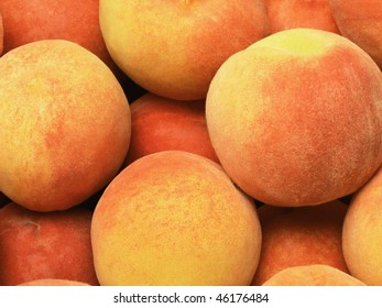 close-up of juicy ripen peaches as background