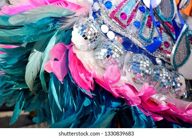 closeup of the junkanoo costume.  celebration on bahamas
