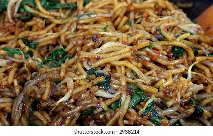 Closeup of just cooked Asian noodle (Malaysian style Mee Goreng)