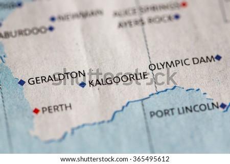 Kalgoorlie Australia Map.Closeup Kalgoorlie On Political Map Australia Stock Photo Edit Now