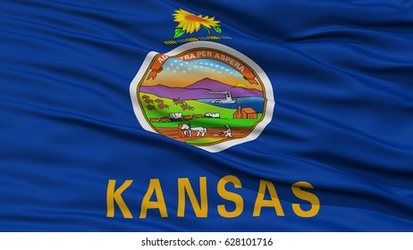 Closeup Kansas Flag on Flagpole, USA state, Waving in the Wind, High Resolution