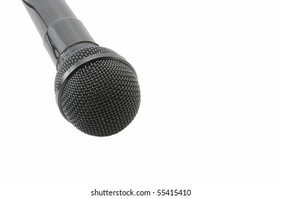 Closeup of a karaoke machine microphone isolated on white background.  Simulates the view of singer looking into microphone.
