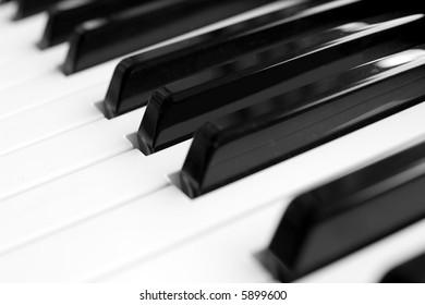 Closeup of the keys of a piano
