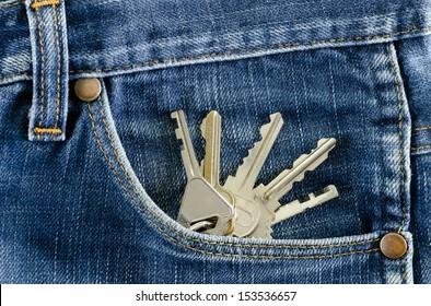 Closeup Keys in a pocket of jeans.