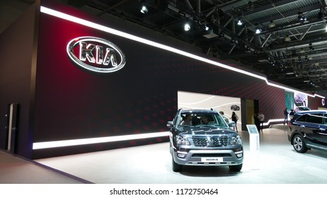 Close-up KIA logo in mims 2018 exposition. Renault is the famous automobile factory from France. SEP 03, 2018 MOSCOW, RUSSIA