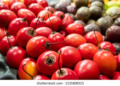 Closeup of a kind of uncommon fruit red Tamarillo. Tree tomato, sour sweet taste with soft edible seeds.