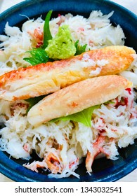 closeup king crab (taraba) rice bowl with wasabi topping japanese food tasty meal in the restaurant in japan