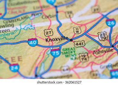 Closeup of Knoxville on a geographical map.