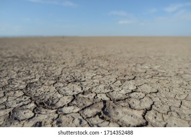 Closeup of Lake Eyasi dry and cracked lake bed in Tanzania without people