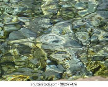 Closeup of lake rocks under water