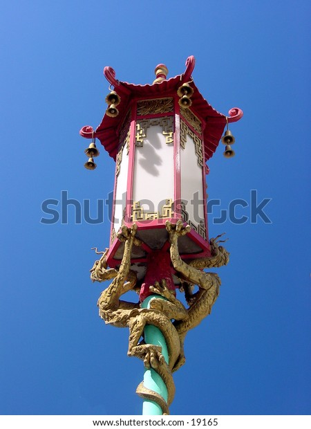 Closeup of lamp from Chinatown in San Francisco