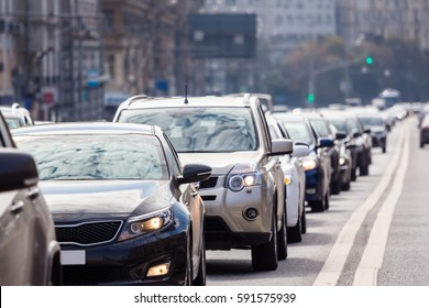 Close-up of the lane of cars in traffic jam
