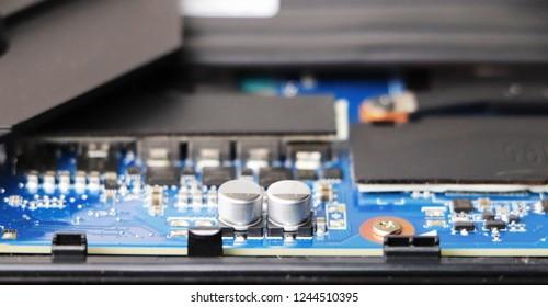 Closeup of laptop microcircuits.