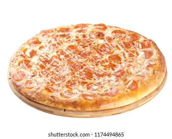 Closeup of a large appetizing pizza on a round wooden plate. Isolated on white background.