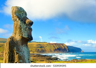 Closeup of large Moai at Ahu Tongariki on Easter Island, Chile