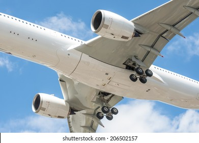 closeup of a large passenger aircraft undercarriage - no visible trademarks