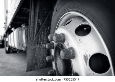 A close-up of a large van wheel