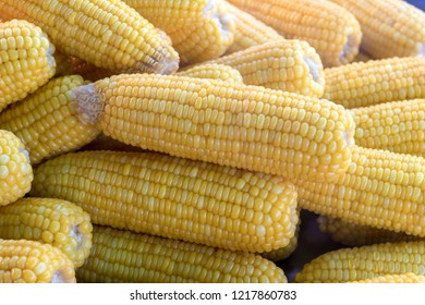 Close-up of large yellow corn, which is boiled and placed on a steaming pot, is commonly found on Thai markets.