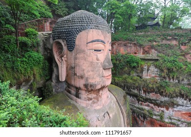Closeup of largest buddha statue in the world in Leshan - China