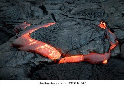 Closeup of lava from Puu Oo in Kalapana, Big Island, Hawaii.