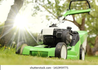 A Close-up of a  Lawnmower in a sunny garden