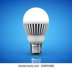 Closeup LED bulb on a blue background