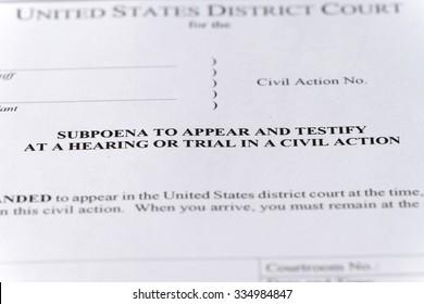 close-up of legal subpoena