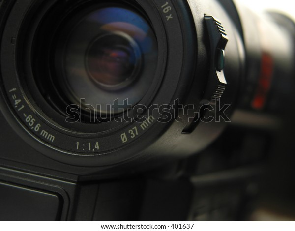 Close-up of the lense of a video-cam