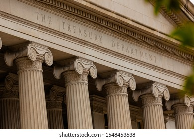 """Close-Up of the Lettering """"The Treasury Department"""" at the Treasury Department Building in Washington, DC"""
