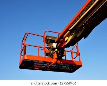 Closeup Of A Lift Bucket On Boom