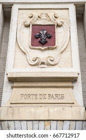 Close-up of the Lille Coat of Arms on the Porte de Paris in the historic city of Lille in France.