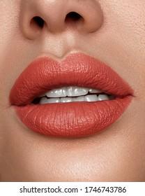 closeup lip make up with lipstick