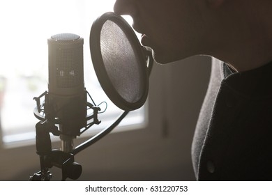 A close-up of lips at the microphone of a young man standing in profile in the rays of the sun, horizontal photo