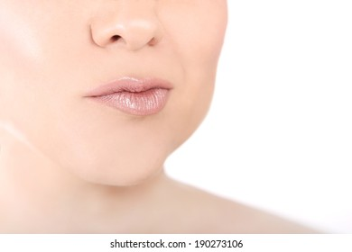 Close-up lips of a young woman